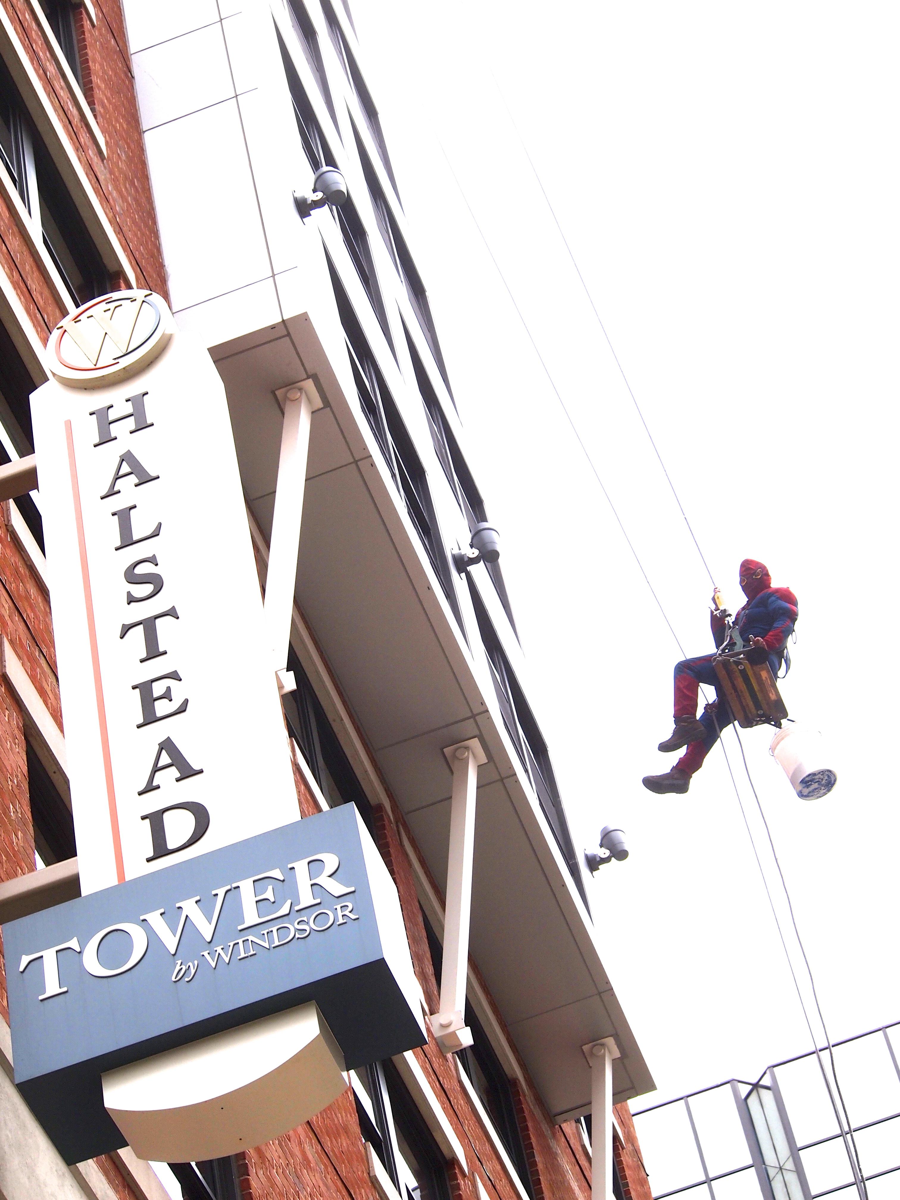 Spider-Man Cleaning Windows